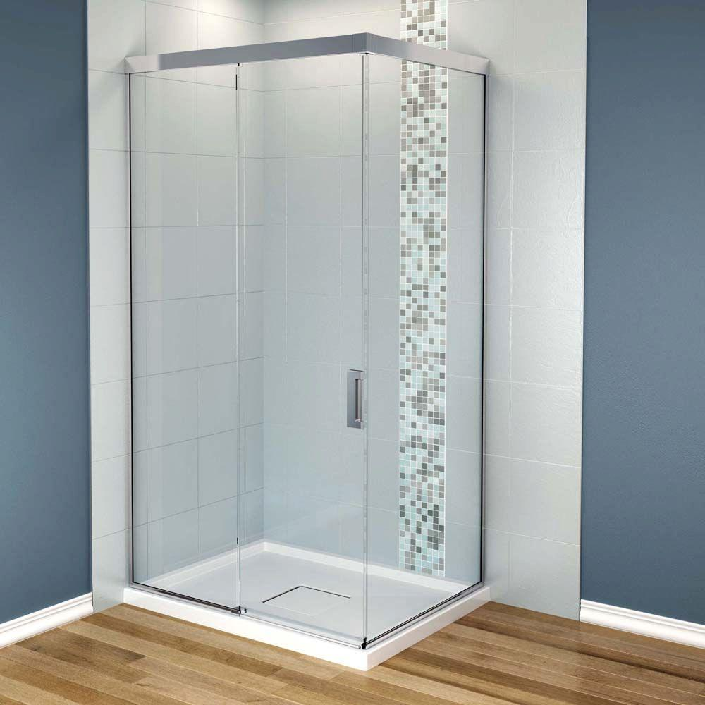 MAAX Influence 36 in. x 48 in. x 88 in. Standard Fit Corner Shower Kit with Clear Glass in Chrome