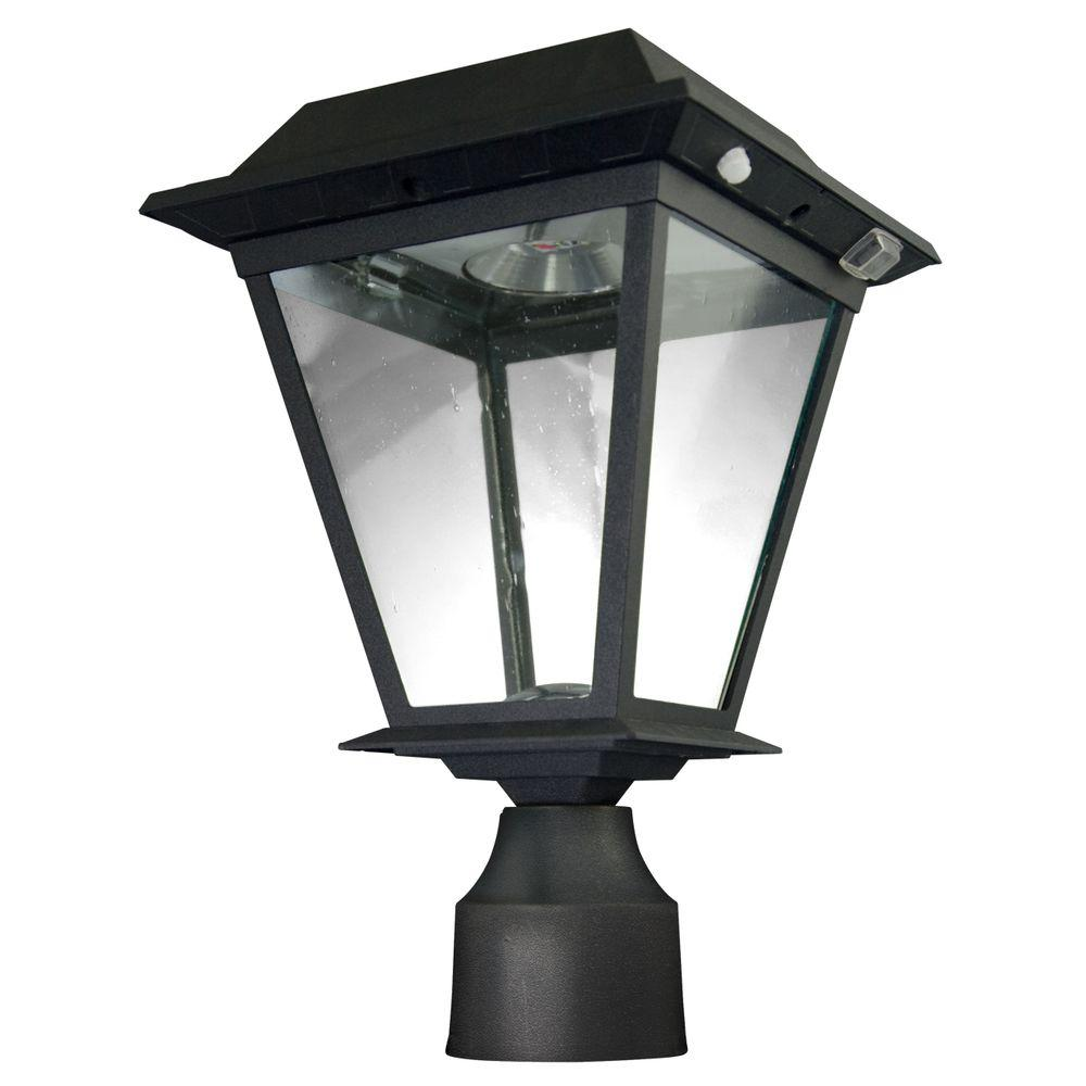 XEPA Stay On Whole Night 300 Lumen 77 In Outdoor Black Solar LED Post Lamp S