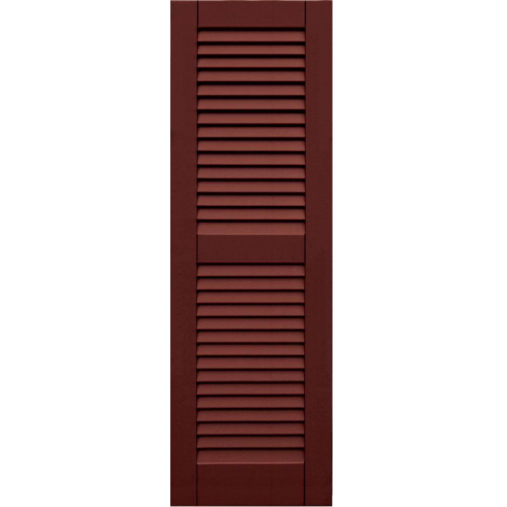 Winworks Wood Composite 15 in. x 47 in. Louvered Shutters Pair #650 Board and Batten Red