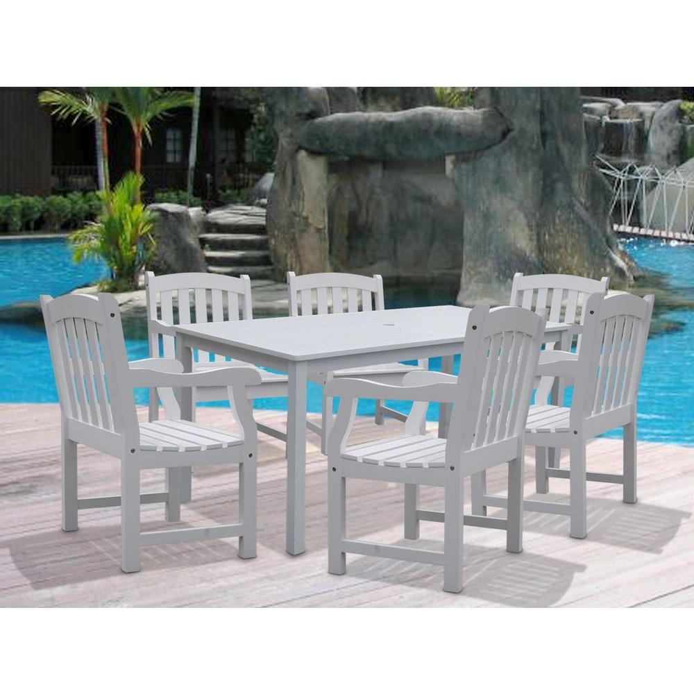 Bradley Acacia White 7-Piece Patio Dining Set with 32 in. W