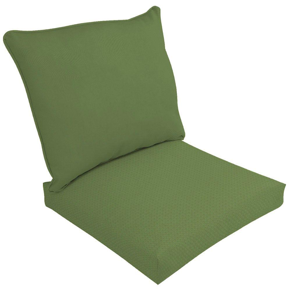 Hampton Bay Spectrum Cilantro 2-Piece Deep Seating Outdoor Dining Chair Cushion