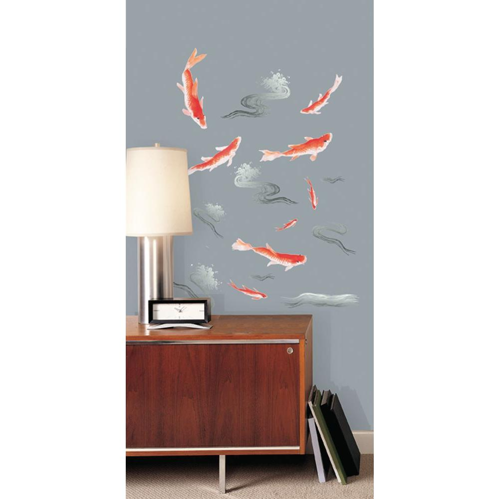 Snap in x in multi coloured koi 2 sheet for Koi wall decal