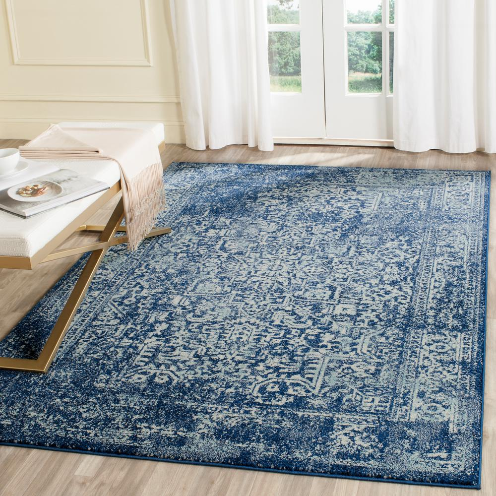Safavieh evoke navy ivory 4 ft x 6 ft area rug evk256a 4 for 7 x 9 dining room rugs