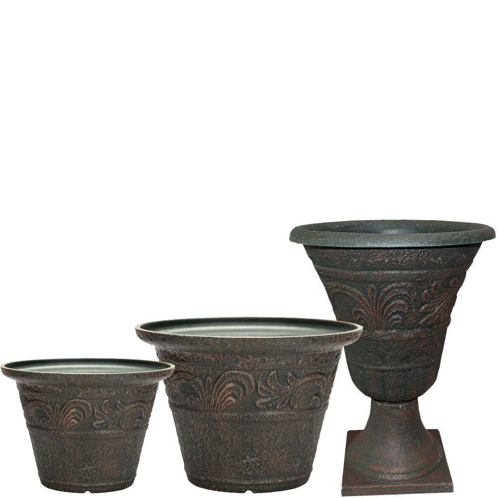 Tumbled Scroll 20 in. x 14 in. Rust Resin Planter Pack