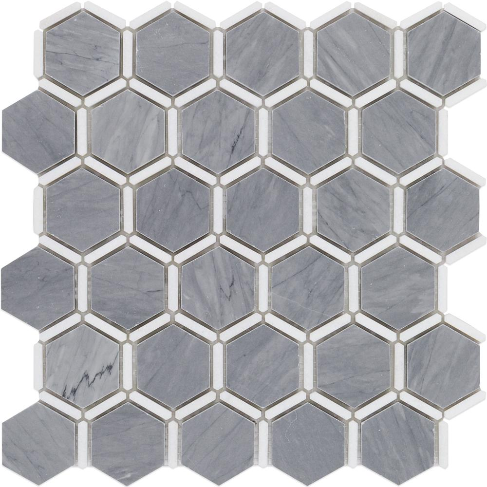 Ambrosia Cardiff Gray and Thasos Marble Mosaic - 3 in. x