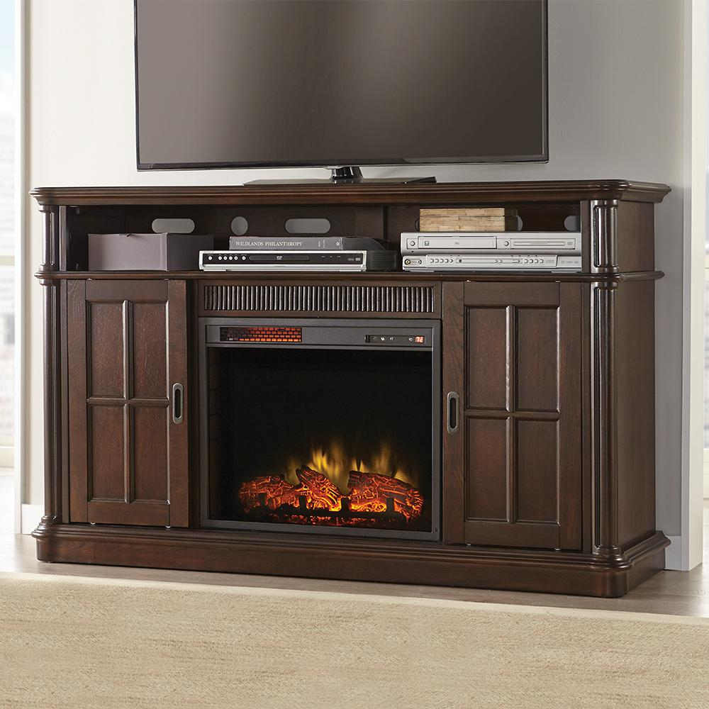 This question is from Jamerson Manor 60 in. Media Console Infrared Electric  Fireplace in Ebony Oak - Home Decorators Collection Jamerson Manor 60 In. Media Console