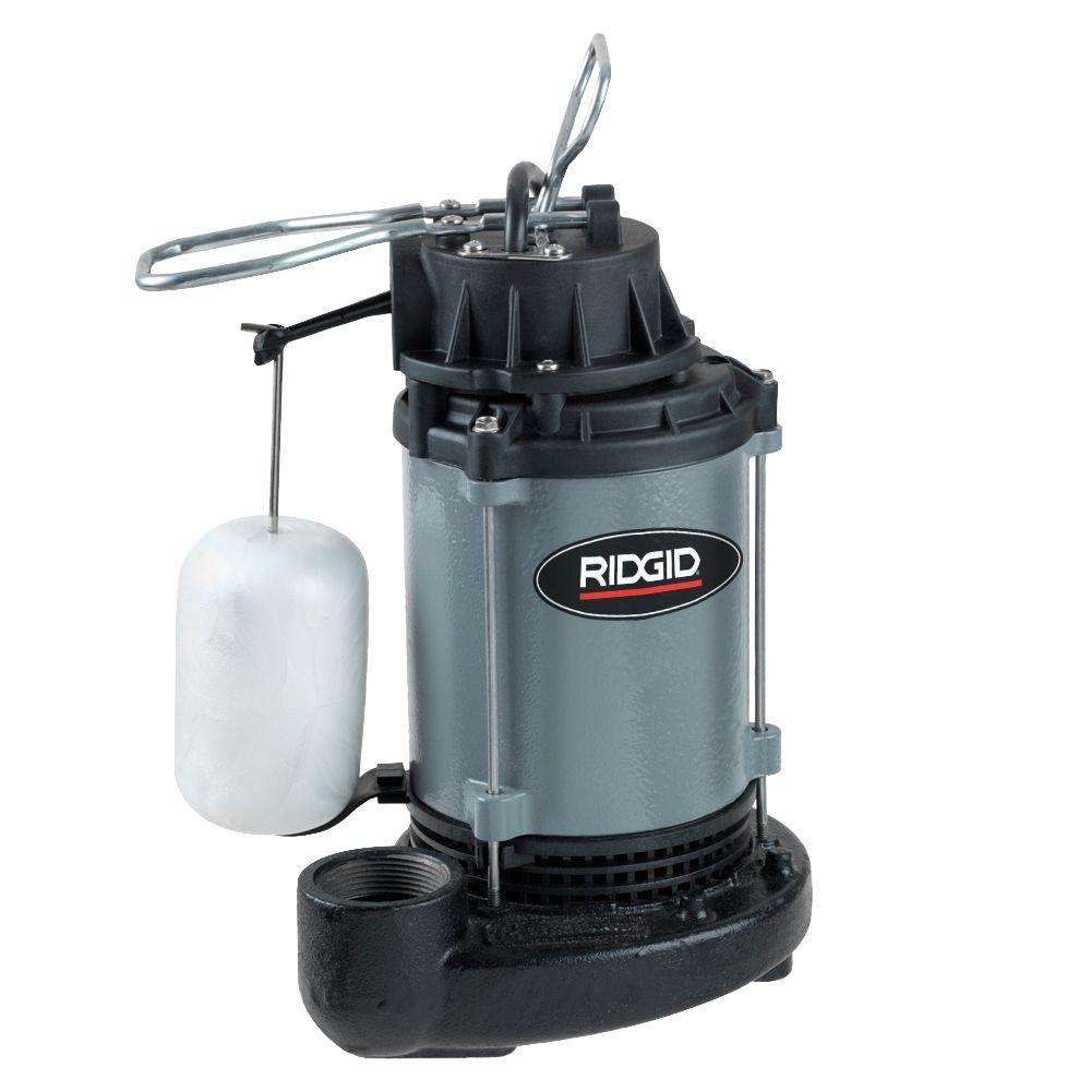RIDGID 1/2 HP Cast Iron Submersible Sump Pump-500RS - The Home