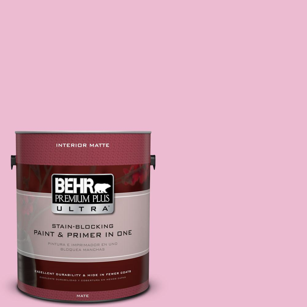 1 gal. #P130-2 Pink Innocence Matte Interior Paint