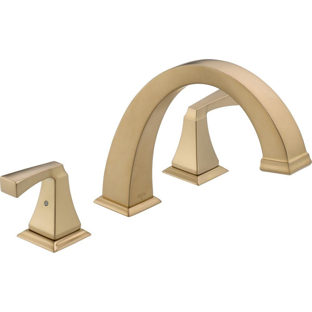 Dryden 2-Handle Deck-Mount Roman Tub Faucet Trim Kit Only in Champagne