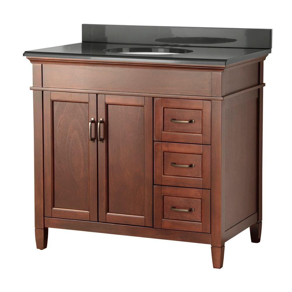 Foremost Ashburn 37 in. W x 22 in. D Vanity in Mahogany with Right Drawers with Colorpoint Vanity Top in Black