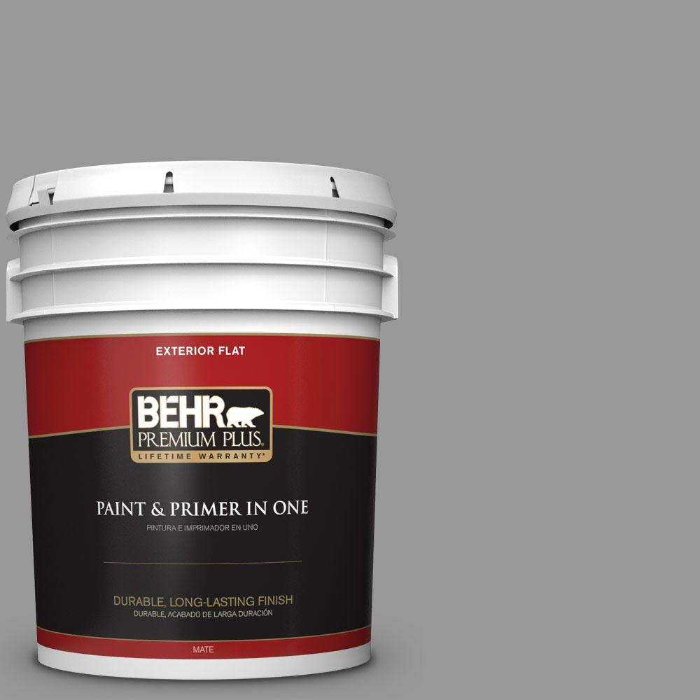 BEHR Premium Plus 5 gal. #HDC-NT-10A Dolphin Gray Flat Exterior Paint-440005