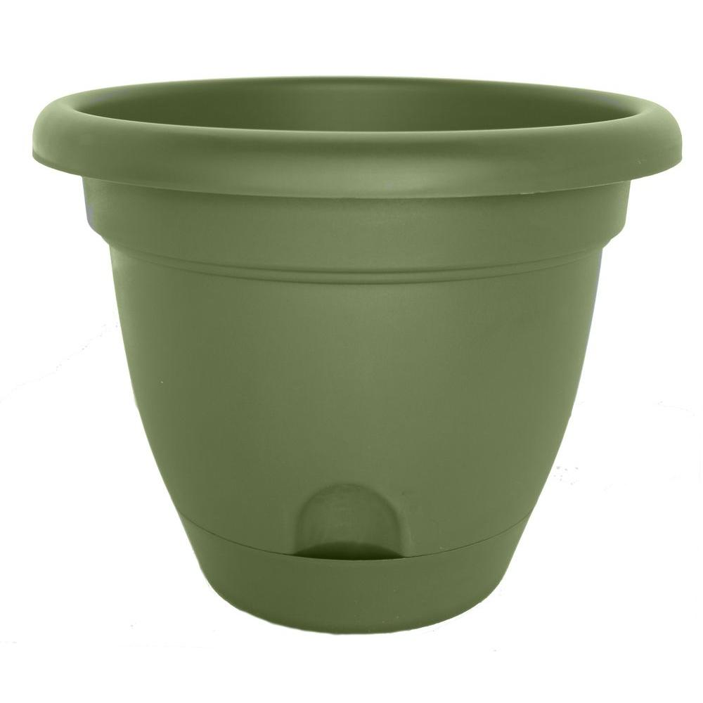 Lucca 16 in. Round Living Green Plastic Planter