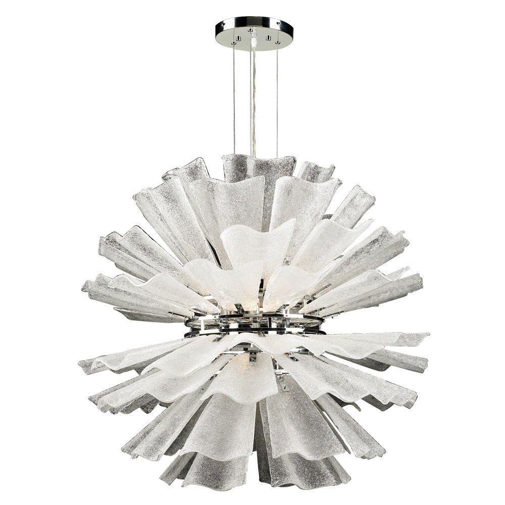 PLC Lighting 8-Light Polished Chrome Pendant with Frost Glass
