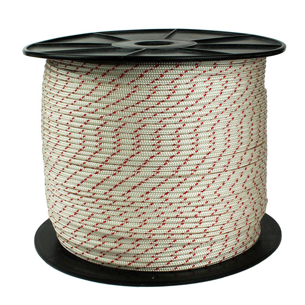 3/16 in. x 1500 ft. Diamond Braid Polypropylene Rope, White/Red