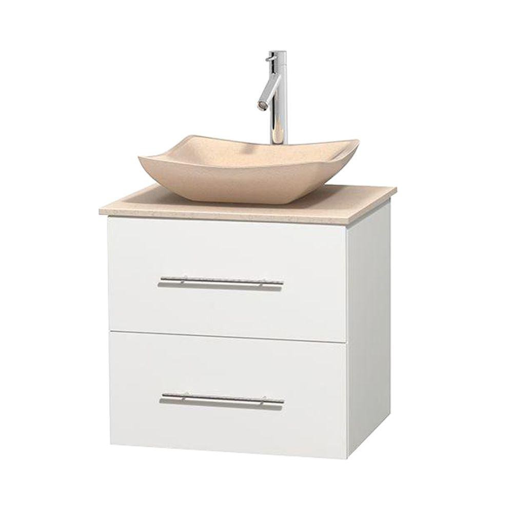 Centra 24 in. Vanity in White with Marble Vanity Top in