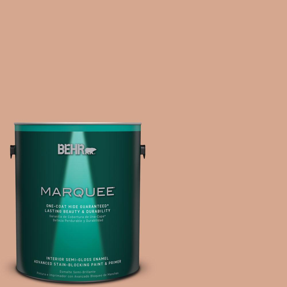 1 gal. #MQ1-30 Peachy Confection One-Coat Hide Semi-Gloss Enamel Interior Paint