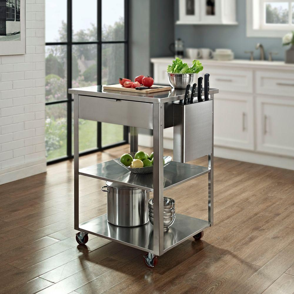 Crosley Culinary Prep Kitchen Cart in Stainless Steel-CF3009-ST - The Home