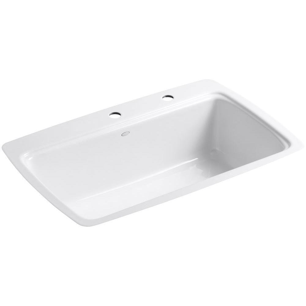 Cape Dory Tile-In Cast-Iron 33 in. 2-Hole Single Basin Kitchen Sink