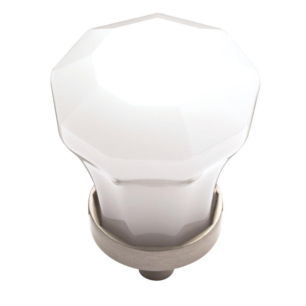 Cut Glass 1-1/4 in. White and Satin Nickel Cabinet Knob