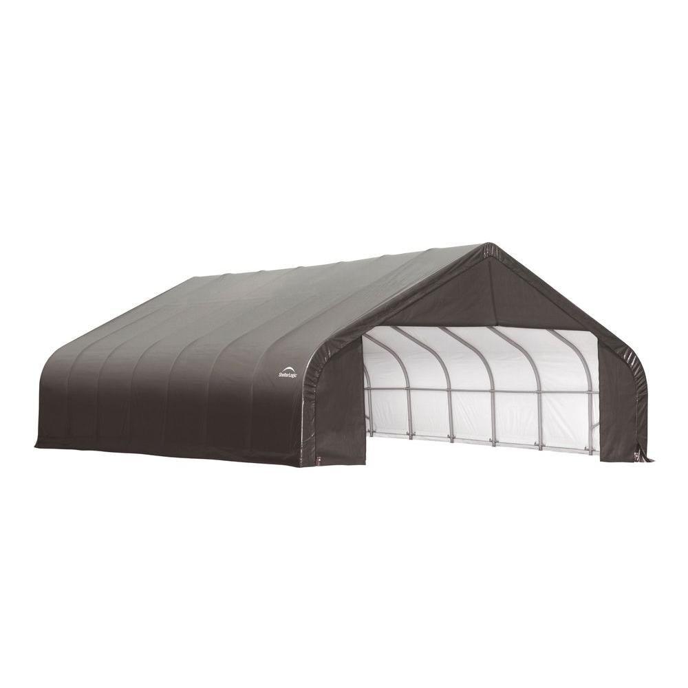 ShelterLogic 26 ft. x 28 ft. x 16 ft. Grey Cover Peak Style Shelter - DISCONTINUED
