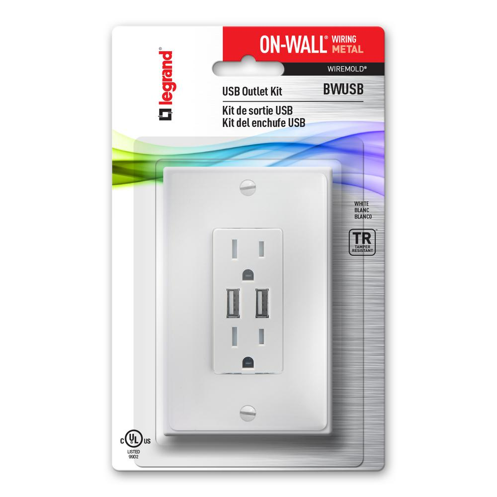 USB Receptacle Kit, Metal-BWUSB - The Home Depot