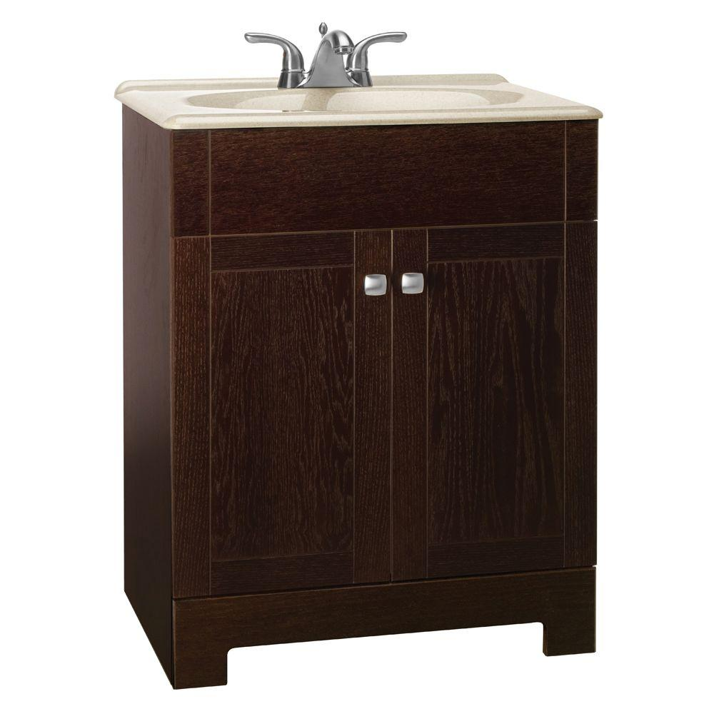 Glacier Bay Renditions 24-3/4 in. W Vanity in Java Oak with Solid Surface Technology Vanity Top in Wheat