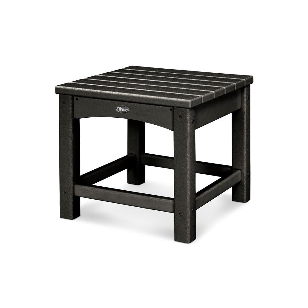 Trex outdoor furniture rockport charcoal black patio side for Outdoor furniture end tables
