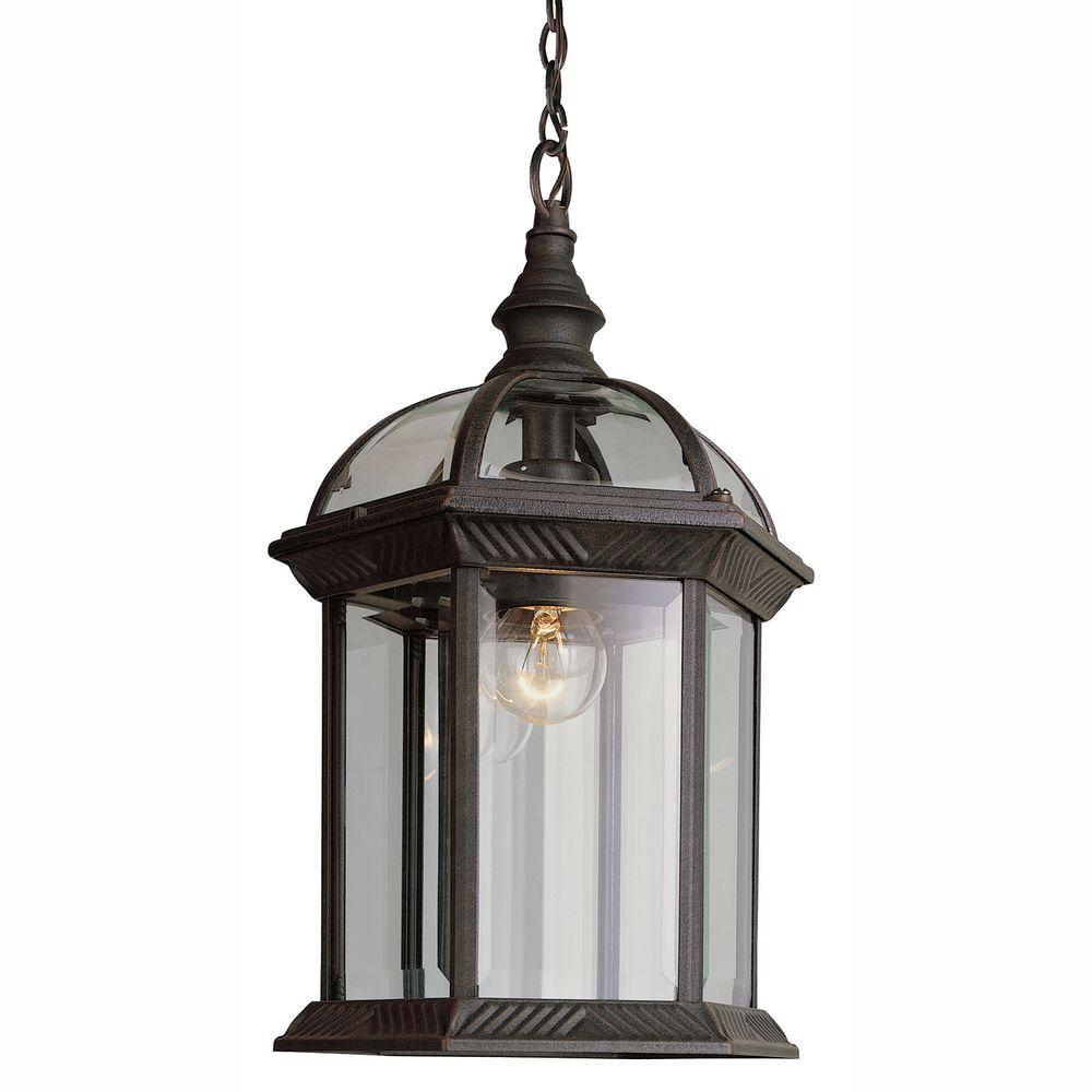 Bel Air Lighting Atrium 1-Light Outdoor Hanging Rust Lantern with Clear