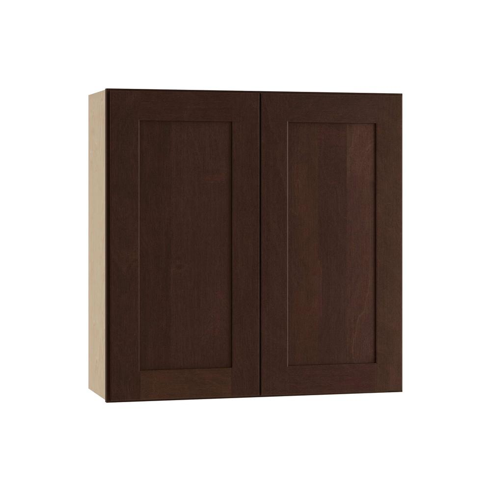 Franklin Assembled 30x30x12 in. Wall Double Door Cabinet in Manganite Glaze
