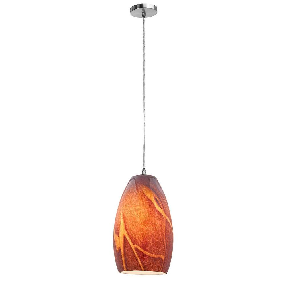Access Lighting 1-Light Pendant Brushed Steel Finish Inca Glass-DISCONTINUED