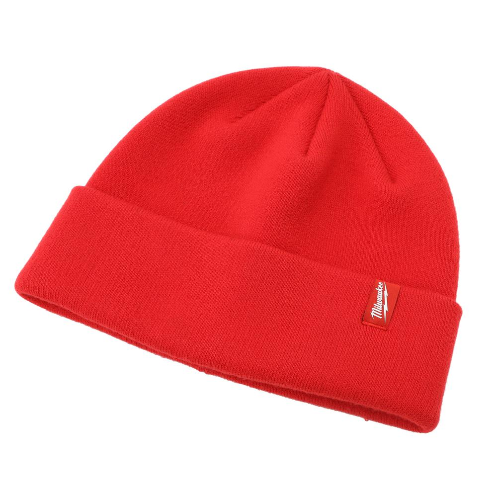 e687186aeda64 Milwaukee Men s Red Cuffed Knit Hat-503R - The Home Depot