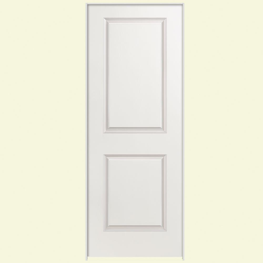 24 in. x 80 in. Smooth 2-Panel Square Hollow Core Primed Composite Single Prehung Interior Door