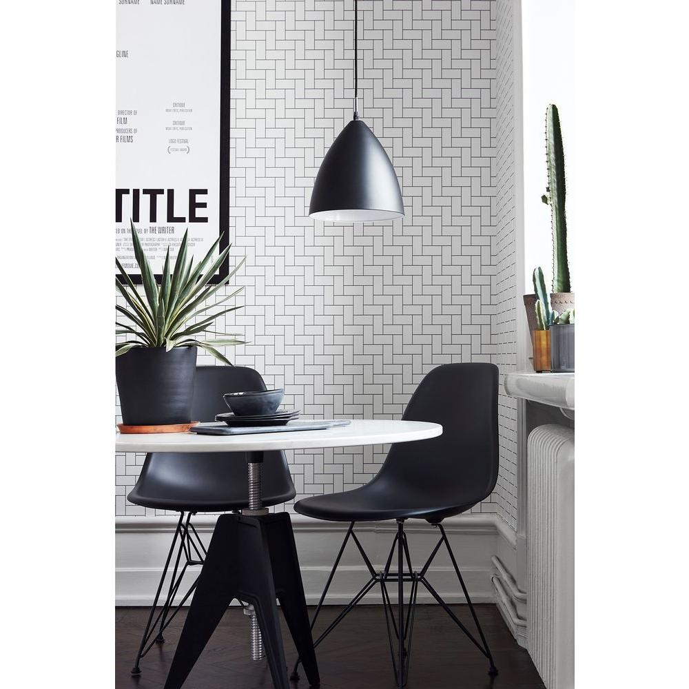 57.5 sq. ft. White Block Texture Wallpaper, Grey