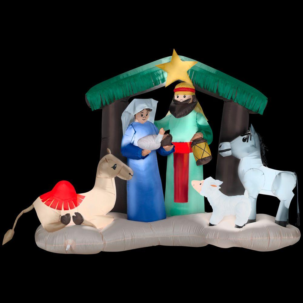 Gemmy 6 ft h inflatable nativity scene 87876x the home for Home depot christmas lawn decorations