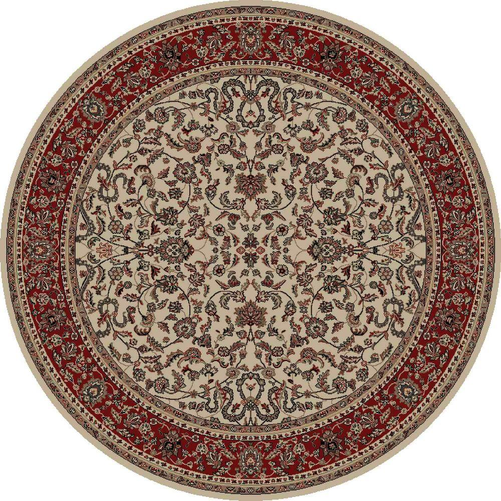 Persian Classics Kashan Ivory 7 ft. 10 in. Round Area Rug