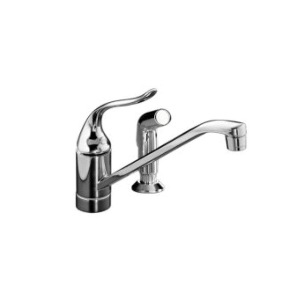 KOHLER Coralais Single-Handle Standard Kitchen Faucet with Side Sprayer in Brushed Chrome