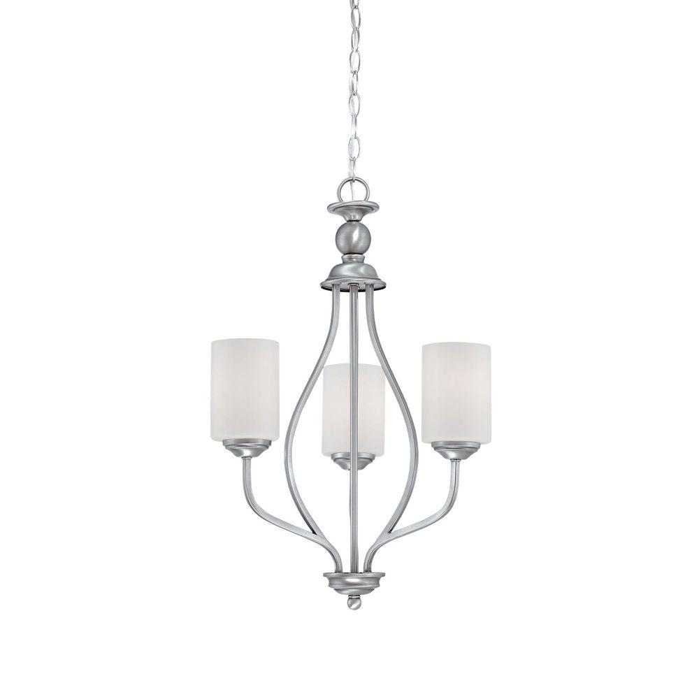Millennium Lighting 3-Light Brushed Pewter Chandelier with Etched White