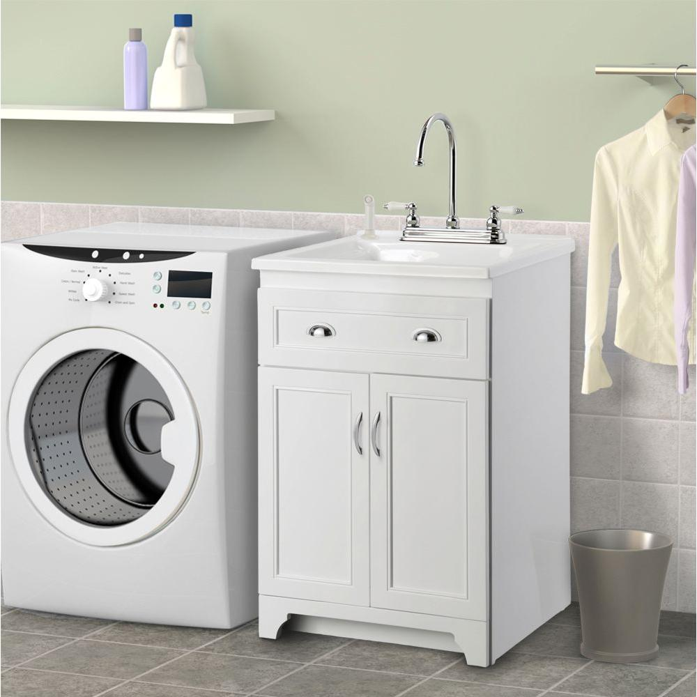 Laundry Vanity in White and ABS Sink in White and Faucet Kit KEWA2421 The  Home Depot. Allintitle modern Bathroom Vanities And Cabinets