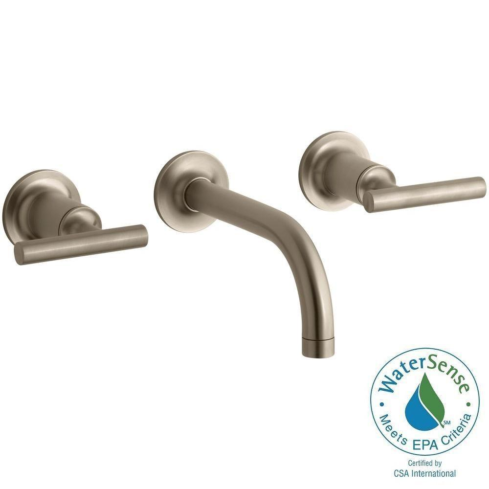KOHLER Purist Wall-Mount 2-Handle Bathroom Faucet Trim Kit in Vibrant Brushed Bronze (Valve not Included)