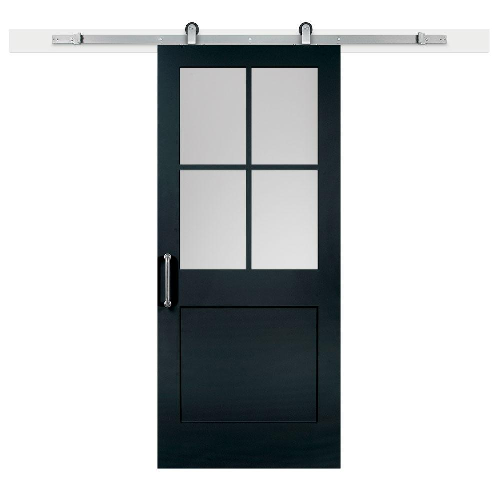 Jeff lewis 36 in x 84 in knight 1 panel 1 2 lite privacy for Sliding door with glass