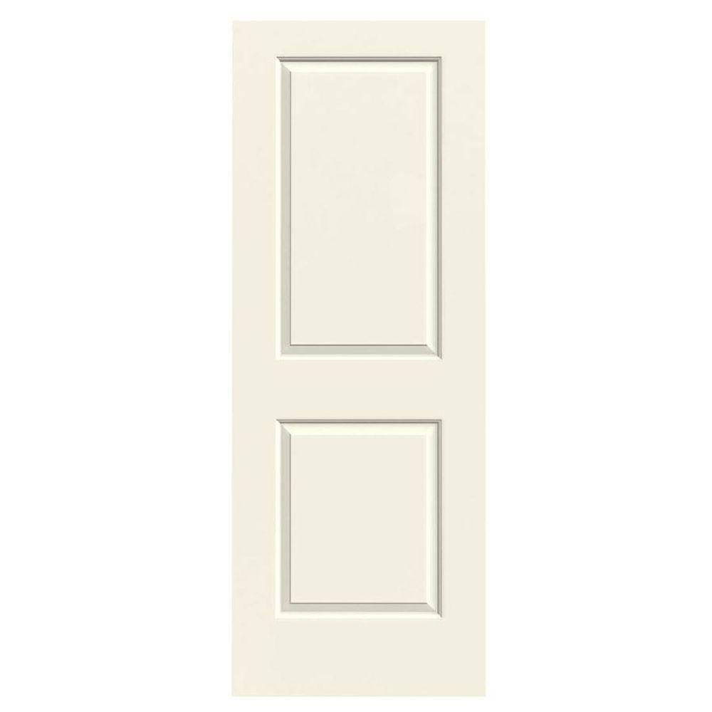 28 in. x 80 in. Molded Smooth 2-Panel Square French Vanilla