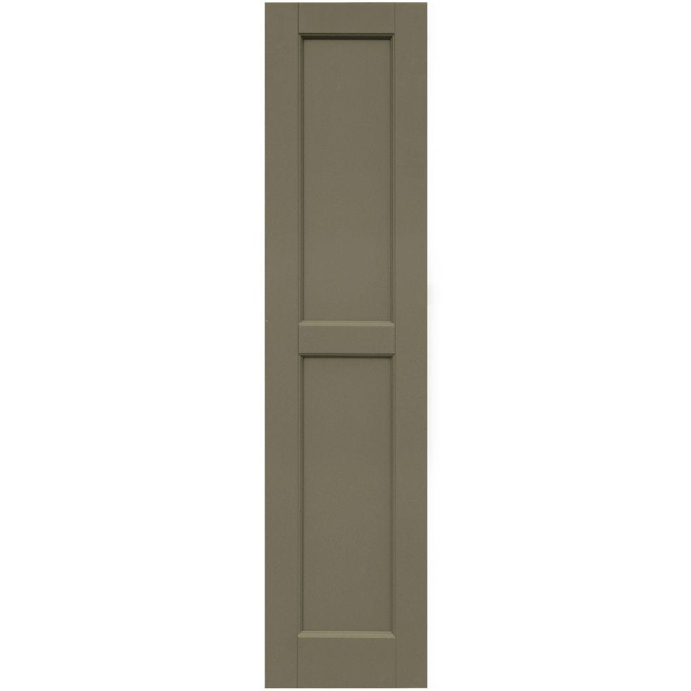 Winworks Wood Composite 12 in. x 51 in. Contemporary Flat Panel Shutters Pair #660 Weathered Shingle