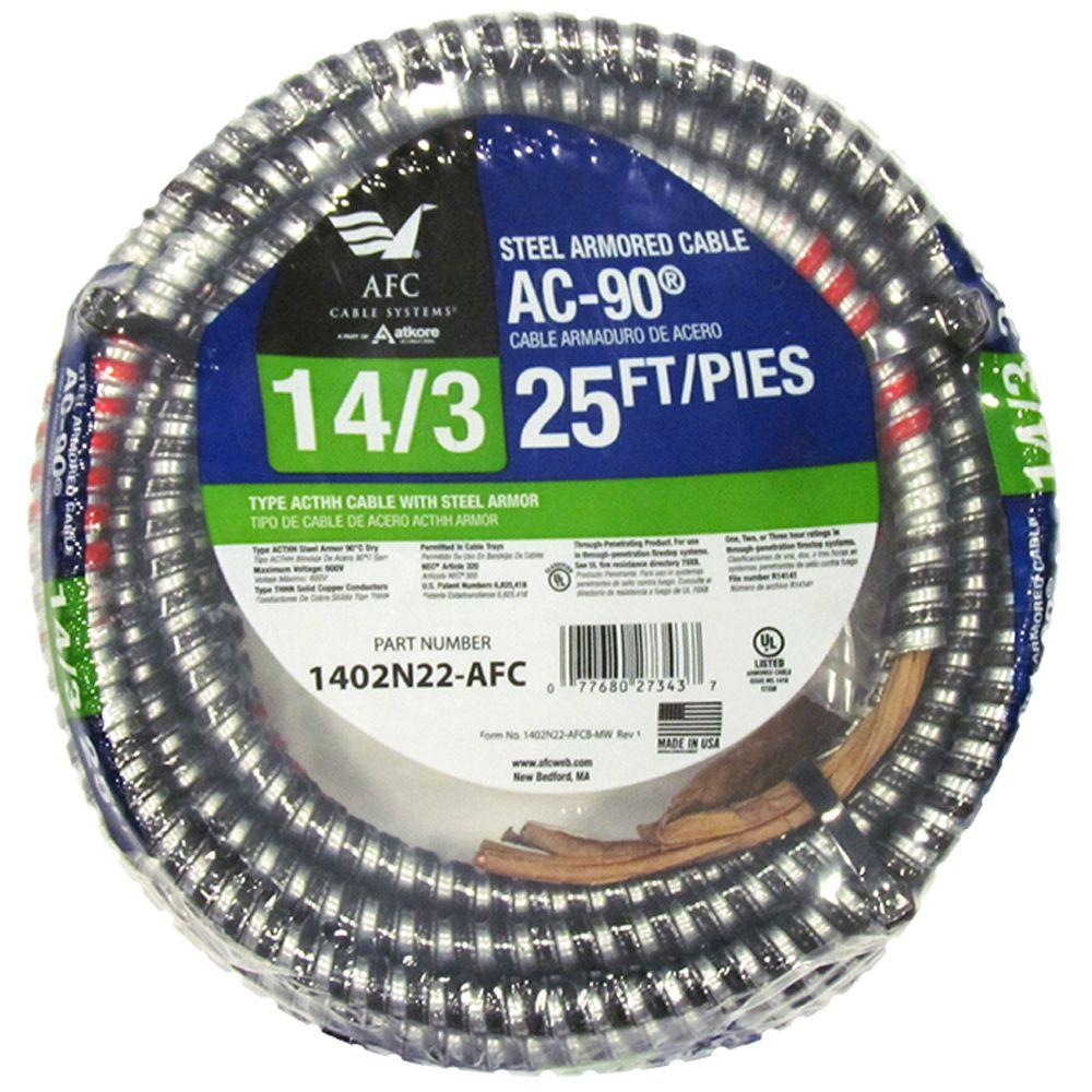Armored Cable: AFC Cable Systems Electrical Wiring 25 ft. 14/3 BX/AC-90 Armored Electrical Cable 1402N22-AFC