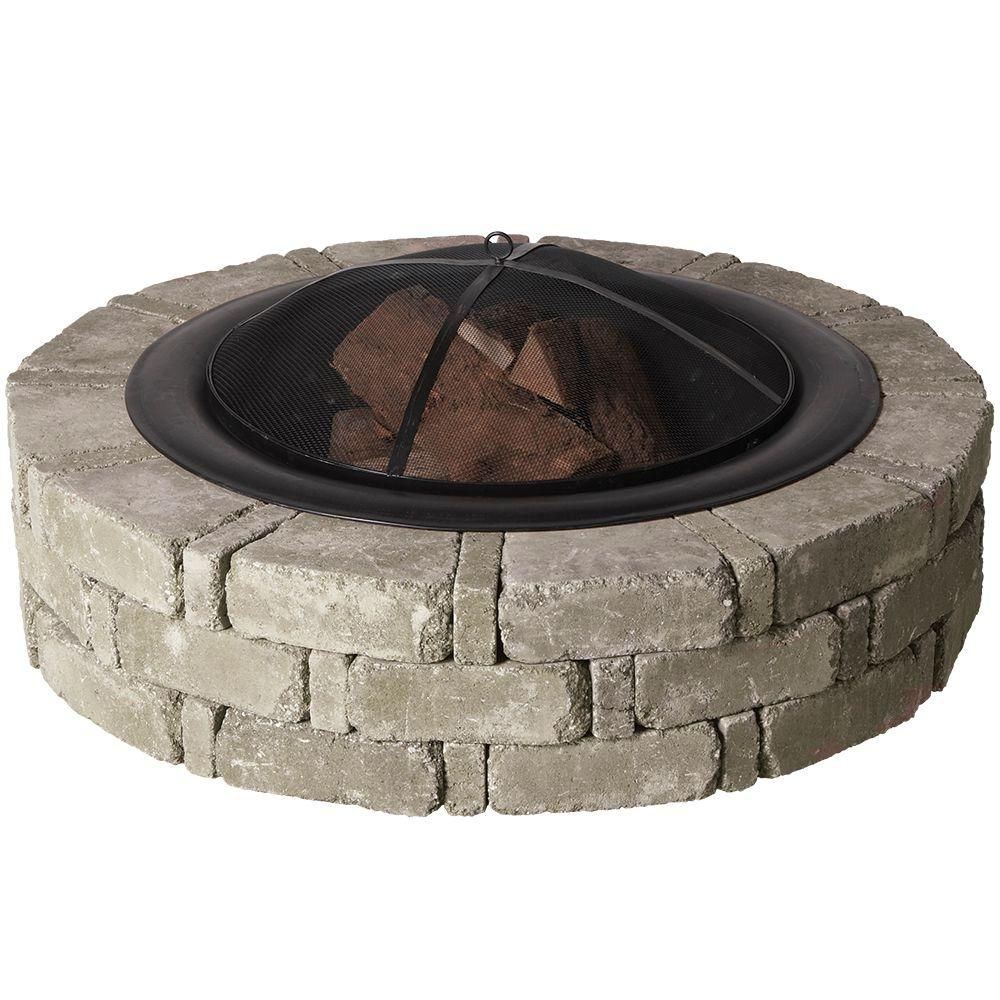 Pavestone 45.8 in. x 10.5 in. RumbleStone Round Fire Pit Kit in Greystone