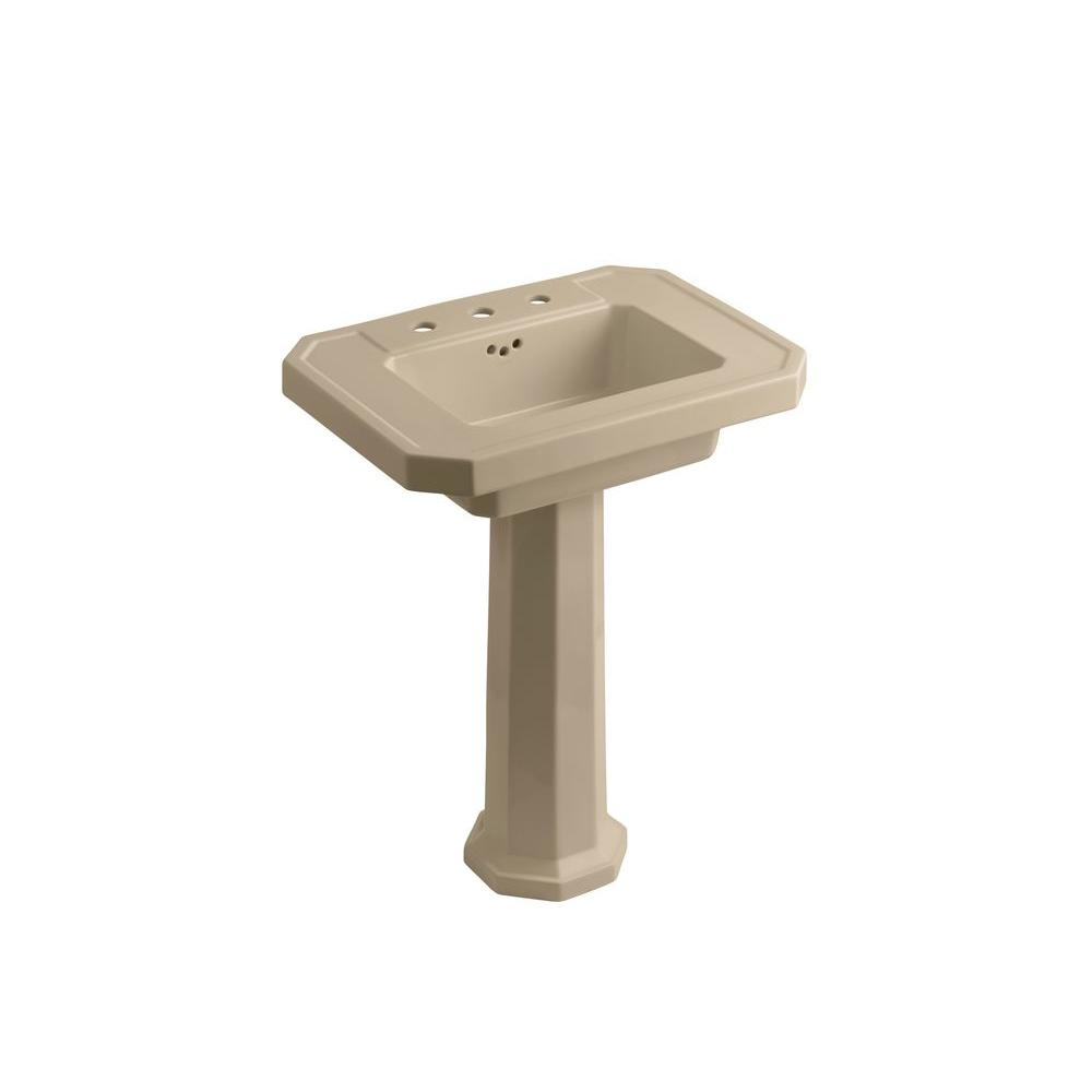 Kathryn Ceramic Pedestal Combo Bathroom Sink in Mexican Sand with Overflow