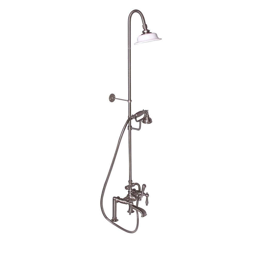 Barclay Products 3-Handle Rim Mounted Claw Foot Tub Faucet with Riser, Hand Shower and Shower Head in Brushed Nickel