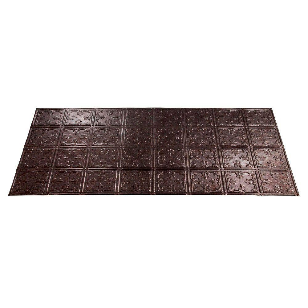 Fasade Traditional 10 2 ft. x 4 ft. Smoked Pewter Lay-in Ceiling Tile