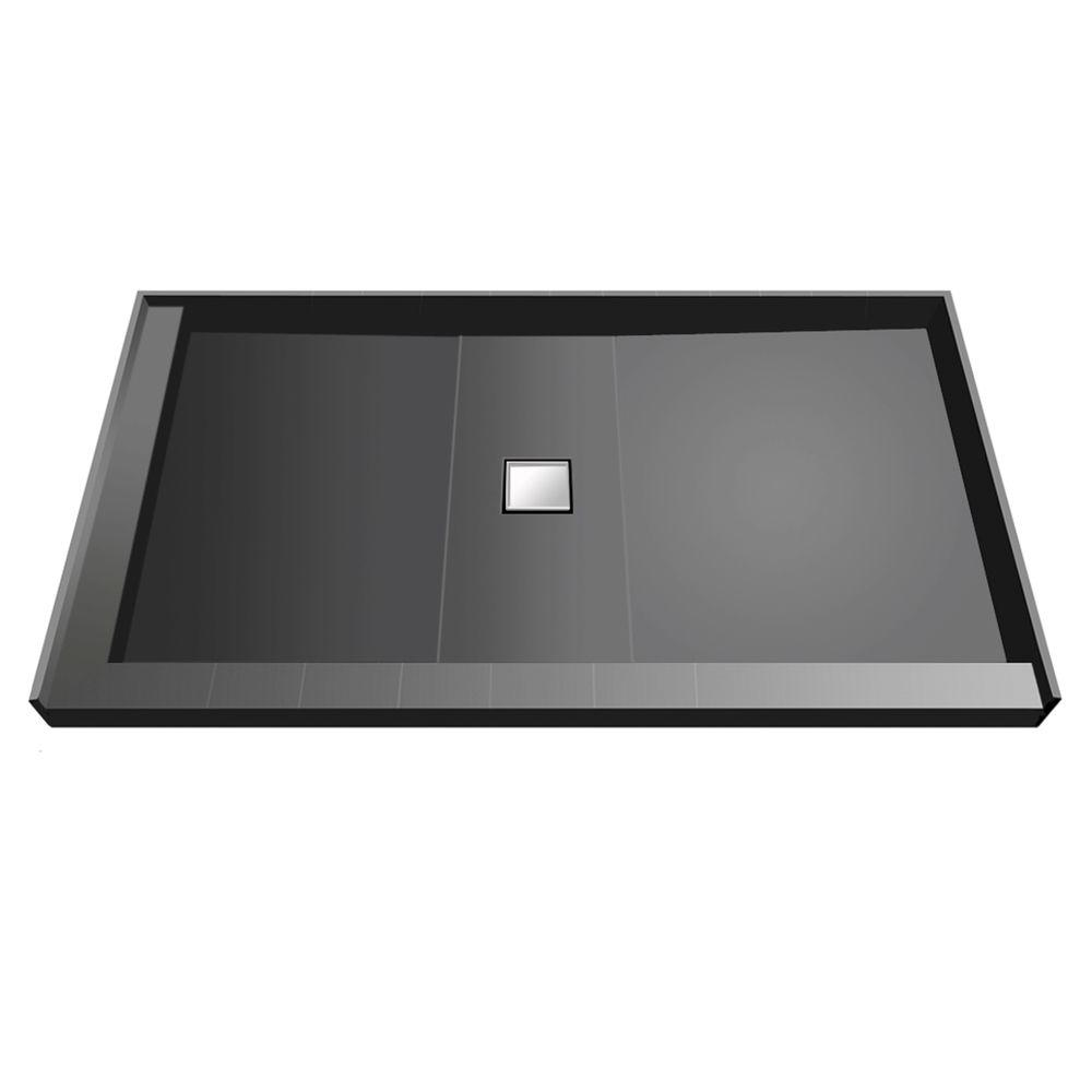 37 in. x 60 in. Double Threshold Shower Base with Center