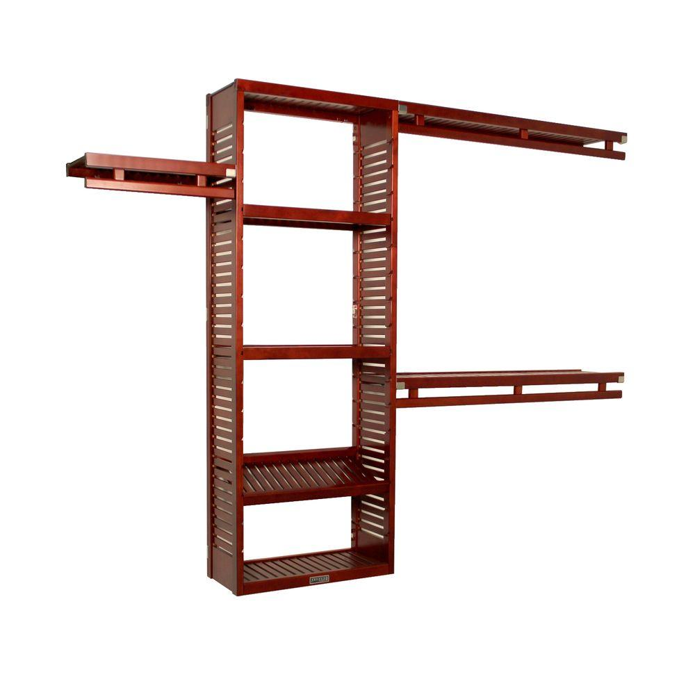 John Louis Home 12 in. Deep Simplicity Closet System in Red Mahogany