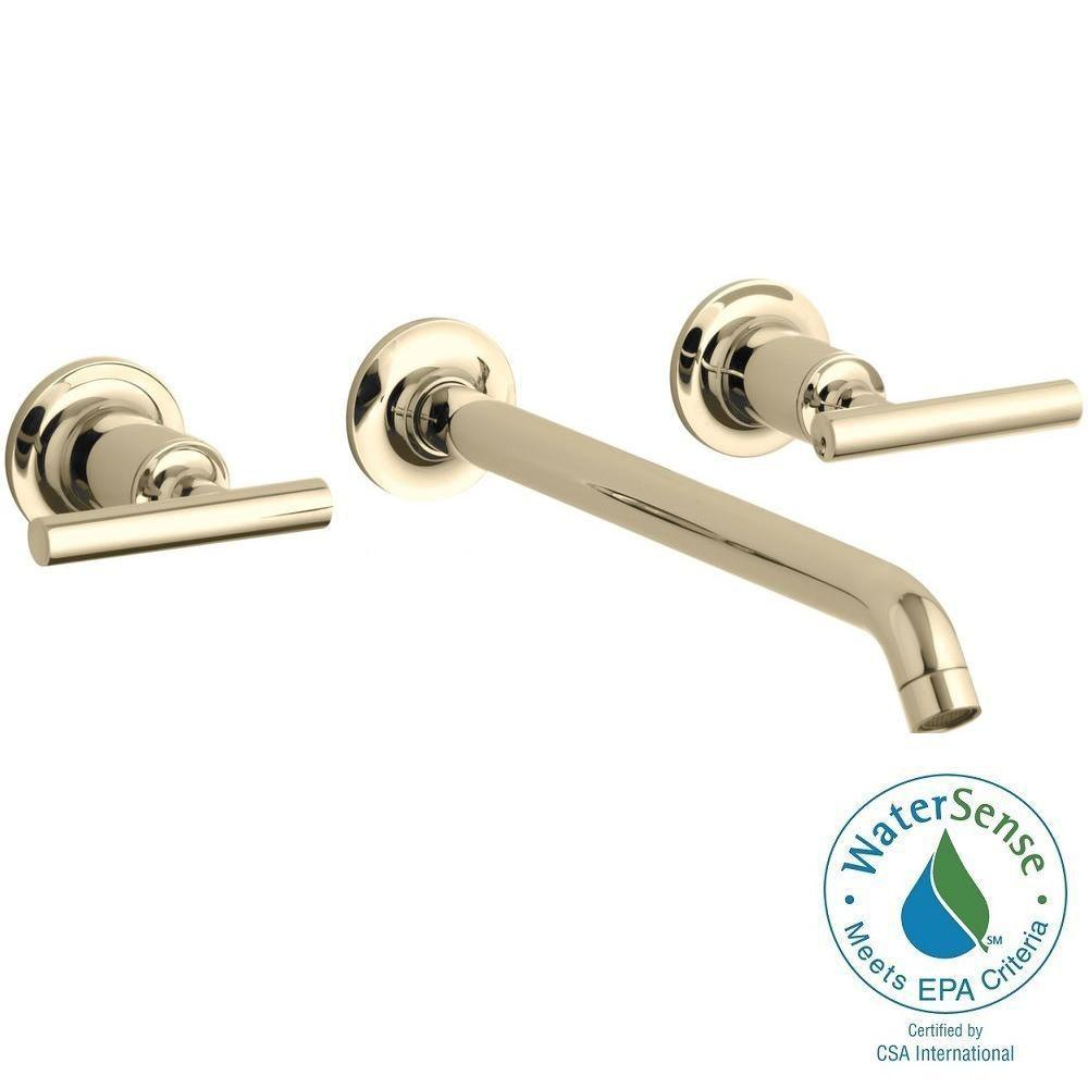 Purist Wall-Mount 2-Handle Bathroom Faucet Trim Kit in Vibrant French Gold